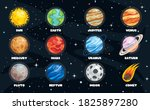colorful planets of solar system | Shutterstock .eps vector #1825897280