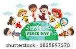 children celebrating world...   Shutterstock .eps vector #1825897370