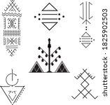 a set of berber tattoos  | Shutterstock .eps vector #1825902503