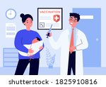 mom with baby visiting doctor... | Shutterstock .eps vector #1825910816