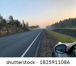 Foggy Road  Highway On An...