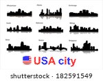 city silhouettes of the most... | Shutterstock .eps vector #182591549