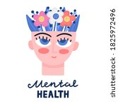conctpt with blooming head.... | Shutterstock .eps vector #1825972496