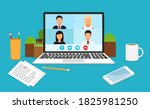 learning or meeting online with ... | Shutterstock .eps vector #1825981250