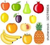 cartoon colorful image fruit set   Shutterstock .eps vector #182598806