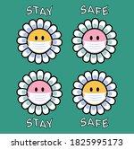 retro positive mask on flower... | Shutterstock .eps vector #1825995173