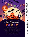 halloween holiday poster banner ... | Shutterstock .eps vector #1826009603