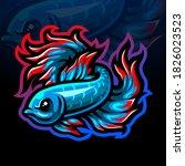 betta fish mascot esport logo...   Shutterstock .eps vector #1826023523