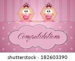 newborn postcard with twin girls | Shutterstock . vector #182603390