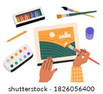 watercolor painting process ... | Shutterstock .eps vector #1826056400