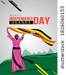 uganda girl waving flag her... | Shutterstock .eps vector #1826060153