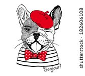 art,beret,black,bonjour,bow,boy,bulldog,cap,card,cartoon,character,child,childlike,cool,cute