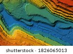 Small photo of Model of a mine elevation. GIS product made after processing aerial pictures taken from a drone. It shows excavation site with steep rock walls