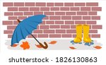 umbrella and rubber boots on... | Shutterstock .eps vector #1826130863