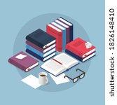 Vector Isometric Reading Books...