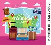 world tourism day lettering... | Shutterstock .eps vector #1826160773