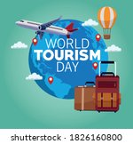 world tourism day lettering... | Shutterstock .eps vector #1826160800