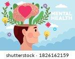 mental health day man profile...   Shutterstock .eps vector #1826162159