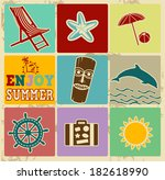 set of vintage summer labels  ... | Shutterstock .eps vector #182618990