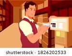 warehouse worker scanning box...   Shutterstock .eps vector #1826202533