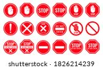 set stop red sign icon. red...   Shutterstock .eps vector #1826214239