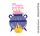 witch's cauldron with magic...   Shutterstock .eps vector #1826249936