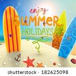 sea shells  anchor  surfboards... | Shutterstock .eps vector #182625098