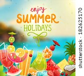 summer holidays vector... | Shutterstock .eps vector #182625170