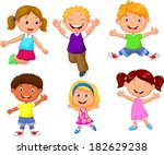 happy kids cartoon | Shutterstock . vector #182629238