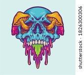 psychedelic skull magic... | Shutterstock .eps vector #1826300306