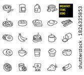 Breakfast Thin Line Icons   ...
