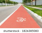 Bike Path With Bicycle Signage...