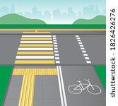 pavement tactile tiles  bike... | Shutterstock .eps vector #1826426276