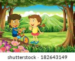 illustration of a forest with... | Shutterstock .eps vector #182643149