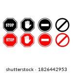 four sets of stop sign vectors... | Shutterstock .eps vector #1826442953