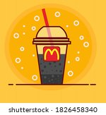 cola with straw in takeaway cup ...   Shutterstock .eps vector #1826458340