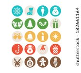 set of christmas icons | Shutterstock .eps vector #182661164