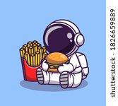 cute astronaut eats burger with ... | Shutterstock .eps vector #1826659889