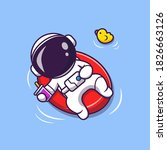 cute astronaut summer floating... | Shutterstock .eps vector #1826663126