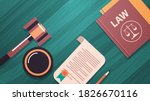 gavel and judge book on wooden... | Shutterstock .eps vector #1826670116