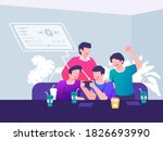 group of people watching live... | Shutterstock .eps vector #1826693990