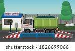 dangerous garbage truck on the...   Shutterstock .eps vector #1826699066