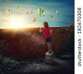 little girl standing on the...   Shutterstock . vector #182670308