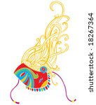 a mask of a harlequin with long ...   Shutterstock .eps vector #18267364