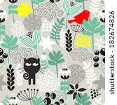 seamless pattern with black cat ... | Shutterstock .eps vector #182674826