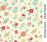 vector flower seamless pattern. | Shutterstock .eps vector #182676668
