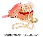 jewelry box with a pearl... | Shutterstock . vector #182683364