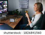 virtual happy hour party. video ... | Shutterstock . vector #1826841560