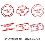 made in usa stamps | Shutterstock .eps vector #182686736