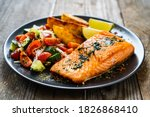 Fried Salmon Fillet With Fried...